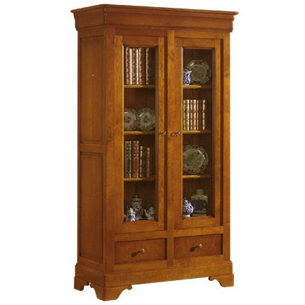 biblioth que 2 portes vitr es 2 tiroirs en ch ne massif pas cher achat vente biblioth ques. Black Bedroom Furniture Sets. Home Design Ideas