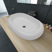 Rocambolesk - Superbe Luxueuse Vasque à poser en céramique Ovale Blanche 63 x 42 cm neuf