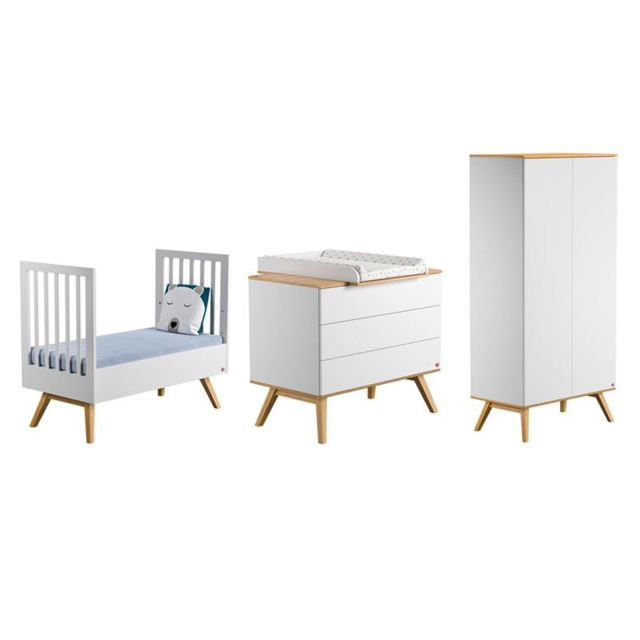 vox pack lit volutif blanc 70x140 matelas commode langer 3 tiroirs armoire 2 portes. Black Bedroom Furniture Sets. Home Design Ideas