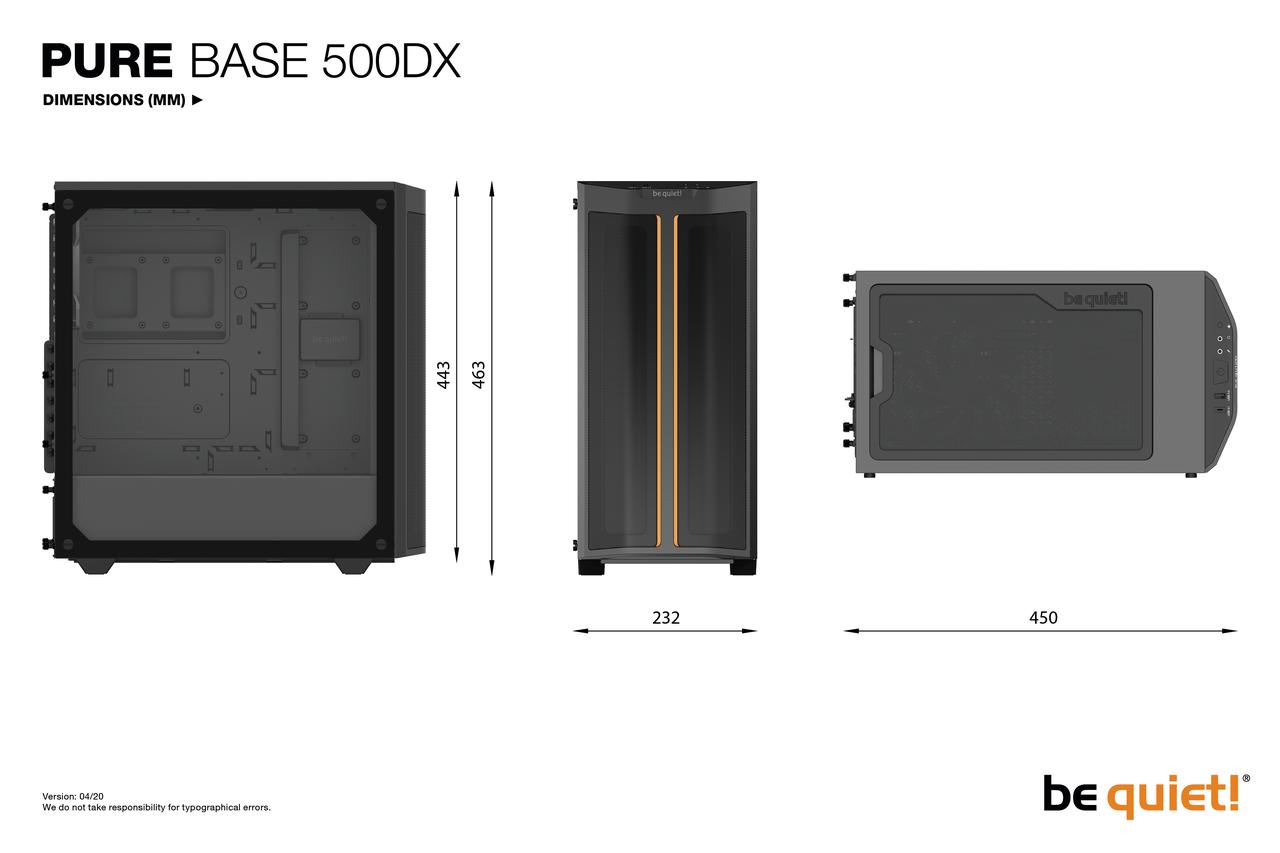 Boîtier Pure Base 500DX Be Quiet! Noir