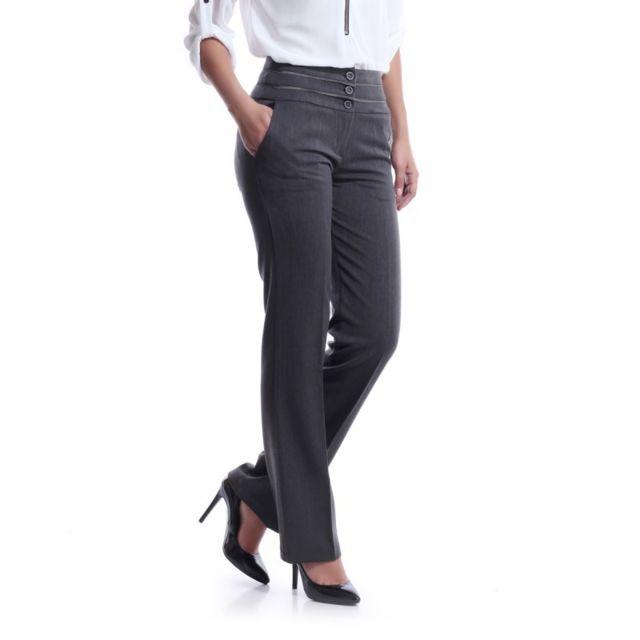 5a6af01a8d4 La Modeuse - Pantalon tailleur gris - pas cher Achat   Vente ...