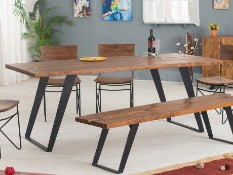 Marque generique table manger fiona 8 couverts acacia m tal naturel 90cm x 76cm x for Carrefour table a manger