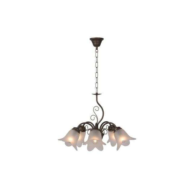 Lucide lustre 5 branches en métal finition rouille et verre satiné mat diamètre 53 cm