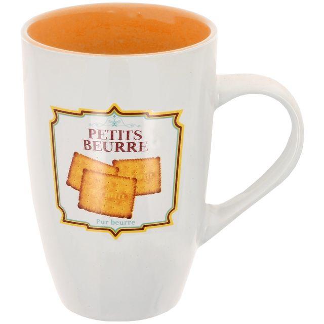 Promobo Maxi Mug Tasse A Café Géant Design Gourmand Biscuit Vintage Petit Beurre 38cl