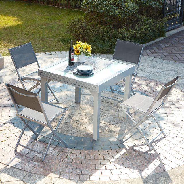 CONCEPT USINE Molvina 4 : table de jardin extensible en aluminium 8 personnes + 4 chaises