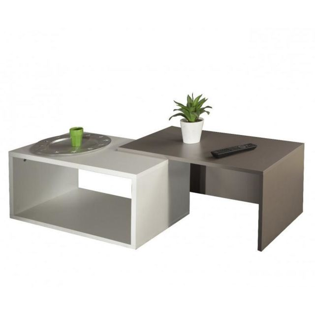 Inside 75 Duet Double table basse blanc et taupe