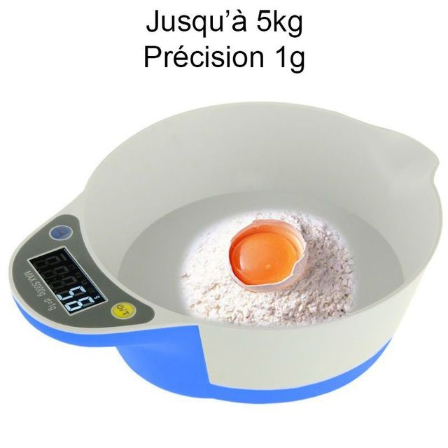 Yonis Balance de cuisine électronique bol récipient culinaire 1g à 5kg bleu