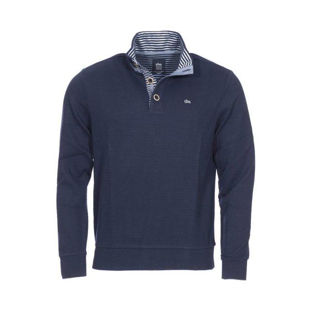 b65ae587baff Tbs - Sweat à col boutonné Ovecam en coton mélangé bleu marine - pas cher  Achat   Vente Sweat homme - RueDuCommerce