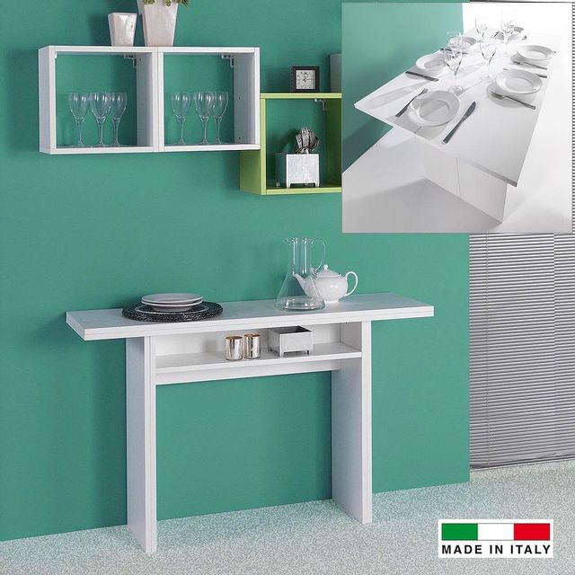 Made In Italia Console extensible Julia bois blanc
