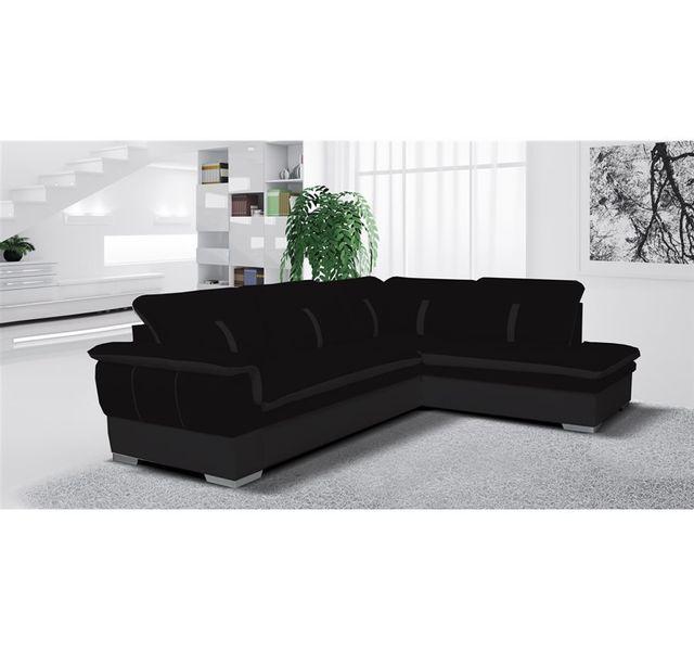 CHLOE DESIGN Canapé d'angle Marion - tissu - noir - Angle droit