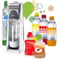 SODASTREAM - machine à gazéifier l'eau avec 1 cylindre et 4 bouteilles + 2 concentrés - pack coolt classique