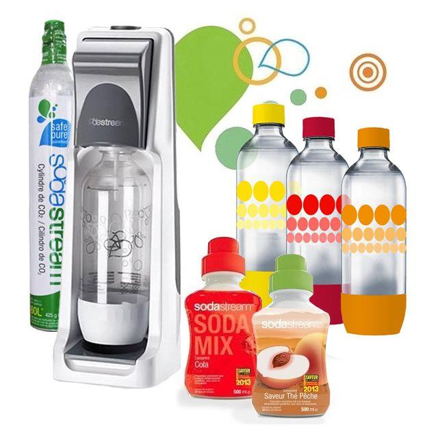 SODASTREAM machine à gazéifier l'eau avec 1 cylindre et 4 bouteilles + 2 concentrés - pack coolt classique