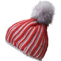 Bonnet chaud et confortable en tricot avec pompon - Mb7107 - rouge et gris  argent f85d4296d5c