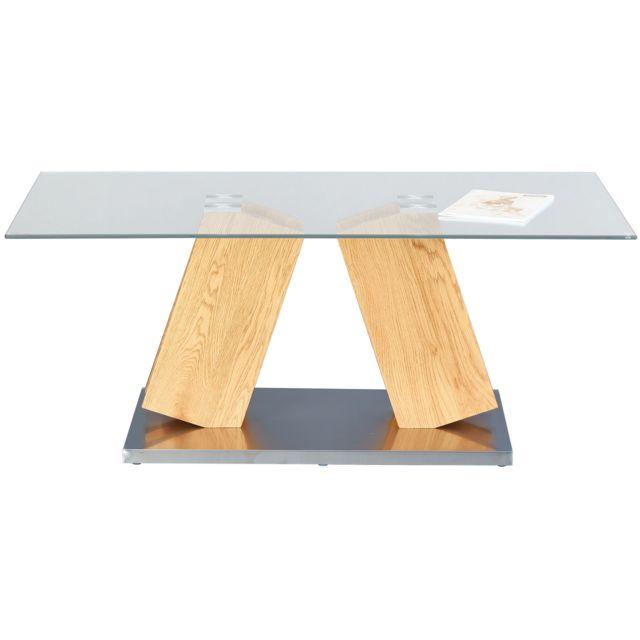 Table Basse Rectangulaire 110 Cm En Bois Verre Et Métal Coloris Naturel C Medhanie