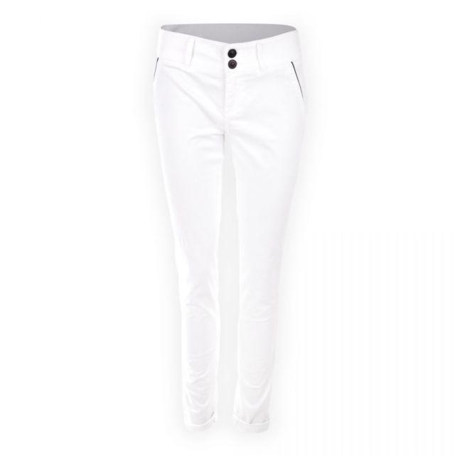 c29e86c004ec On You - Pantalon fluide coupe chino en coton blanc femme - pas cher Achat    Vente Pantalon femme - RueDuCommerce