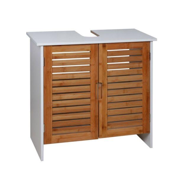 Frandis meuble sdb sous lavabo bambou pas cher achat - Meuble bas salle de bain pas cher ...