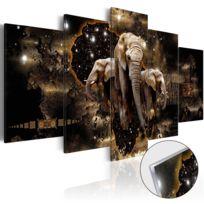 Bimago - Tableau sur verre acrylique - Brown Elephants Glass