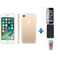 APPLE - iPhone 7 - 128 Go - Or - Reconditionné + Verre trempe iPhone 6/6s/7/8 - Transparent + iPhone 6/6s Perf metal case - Noir + Batterie de secours Coca-Cola Light 7200 mAh