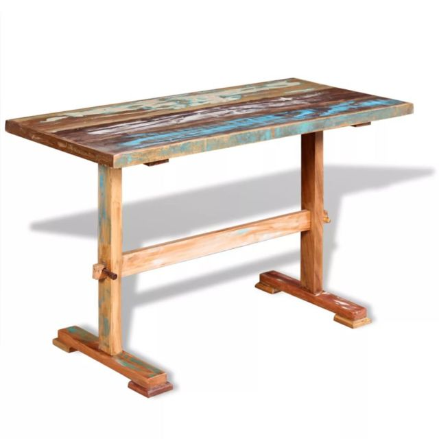 Vidaxl Table à Manger sur Pied Bois de Récupération Massif 120x58x78 cm
