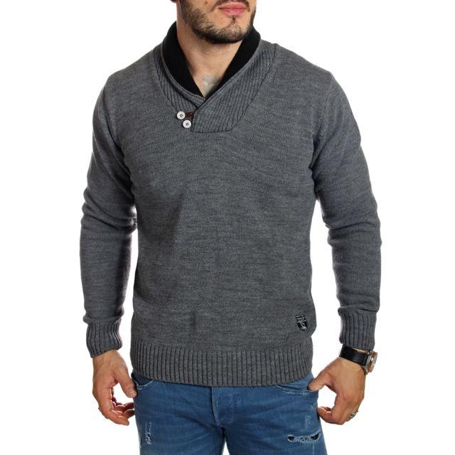 d177f82b56cf Giorgio Di Mare - Pull col châle en laine gris avec coudières - pas cher  Achat   Vente Pull homme - RueDuCommerce