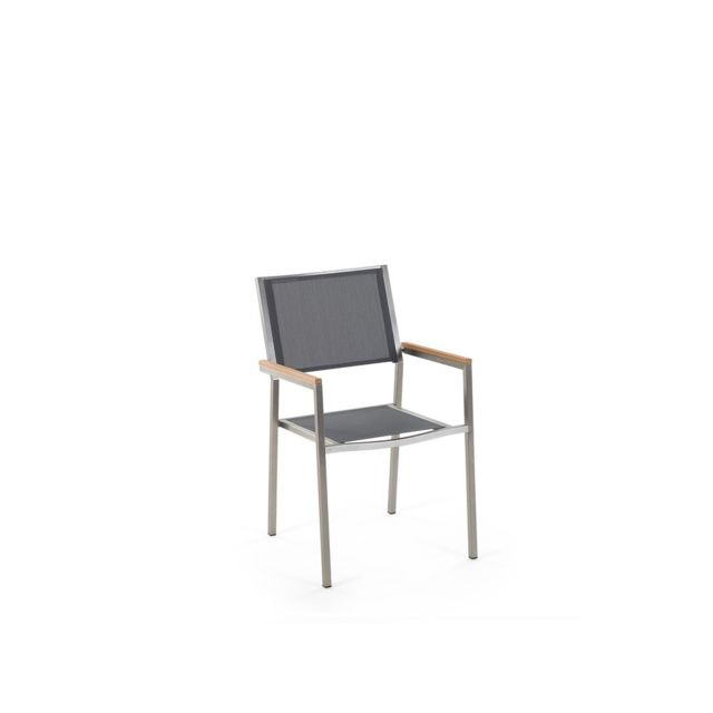BELIANI - Chaise de jardin - acier inox et textile gris - Grosseto ...