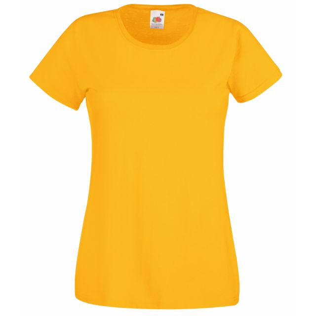 FRUIT OF THE LOOM T-shirt manches courtes - Femme XL, Jaune Utbc1354