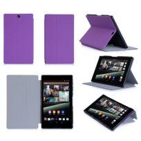 Xeptio - Housse Cuir Style luxe Ultra Slim tablette Sony Xperia Z3 Tablet Compact Sgp611 / Sgp621 violette - Etui coque