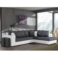 BestMobilier - Montreal Anthracite/Blanc - Canapé d angle Droite