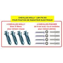 LBH - Kit fixation / chevilles à expansion pour radiateur électrique - Chevilles Molly _ fix M3