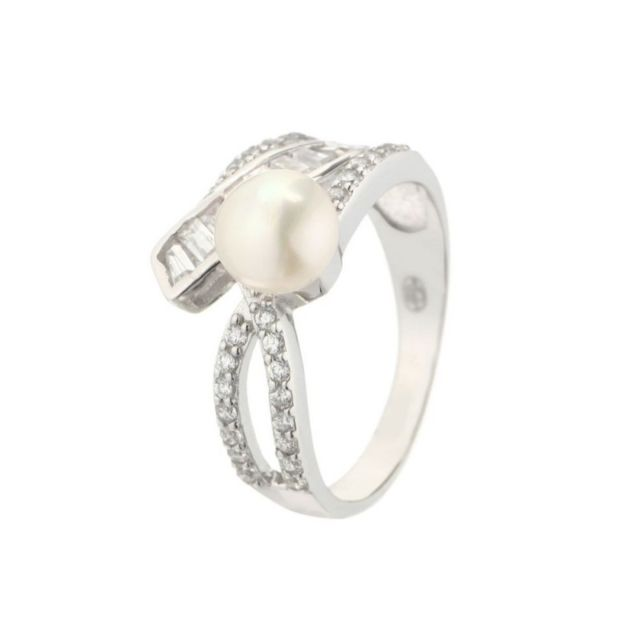 ce9dc7a403c5c Mes-bijoux.FR - Bague queen star en perles de culture blanche et argent