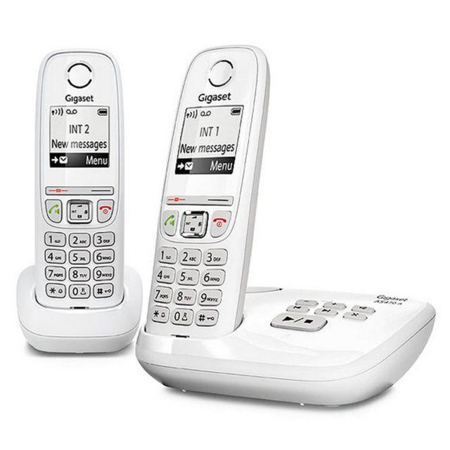 GIGASET - Téléphone sans fil avec répondeur - AS470A Duo - Blanc ... b007ae998b9a