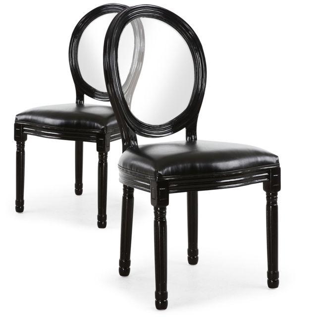 Menzzo lot de 2 chaises louis xvi glass noir pas cher - Chaise style louis xvi pas cher ...