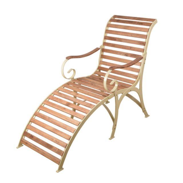 Esschert Design Chaise Longue Metal Creme Bois Creme Pas Cher