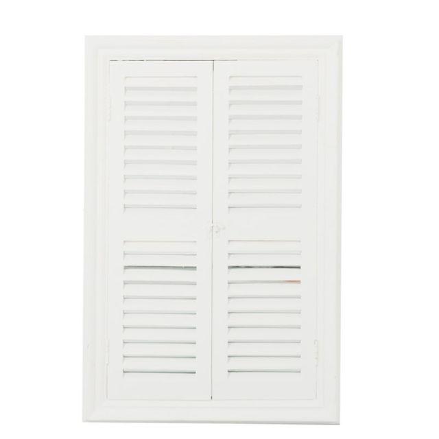 Tousmesmeubles Miroir 2 volets persiennes Bois blanc taille M - Tiana