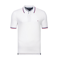 Tommy Hilfiger - Polo Slim Fit Blanc A Liseres Taille L