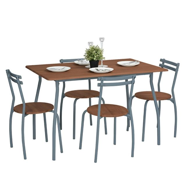 Altobuy Adams - Ensemble Table et 4 Chaises Decor Chene