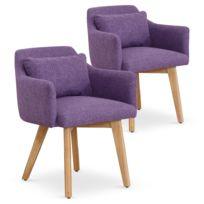 MENZZO - Lot de 2 fauteuils scandinaves Gybson Tissu Violet