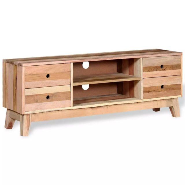 Helloshop26 Meuble télé buffet tv télévision design pratique bois de récupération massif 2502025