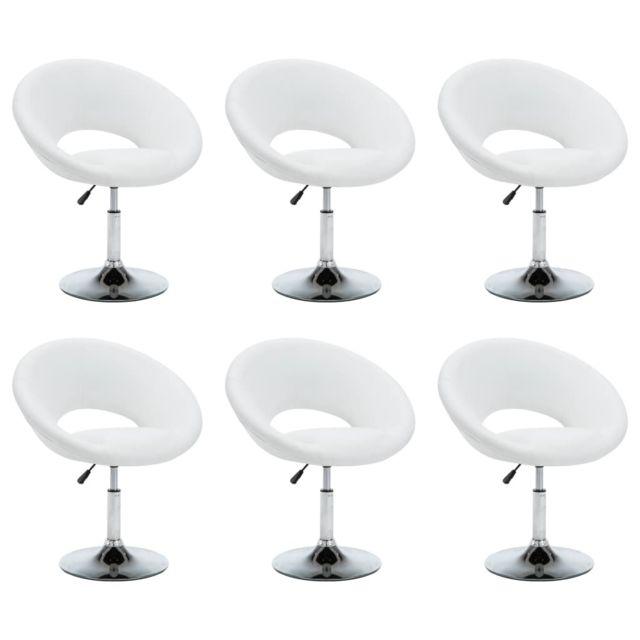 Chaise pivotante 6 pcs Similicuir 74x63,5x89 cm Blanc MeublesFauteuilsChaises de cuisine et de salle à manger   Blanc   Blanc