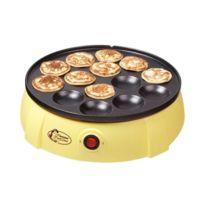 BESTRON - Appareil À ''Poffertjes'' - merveille Hollandaise / mini crêpes / petites galettes 650W - jaune