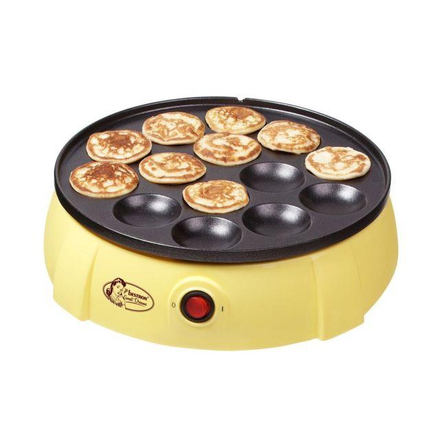 BESTRON Appareil À ''Poffertjes'' - merveille Hollandaise / mini crêpes / petites galettes 650W - jaune