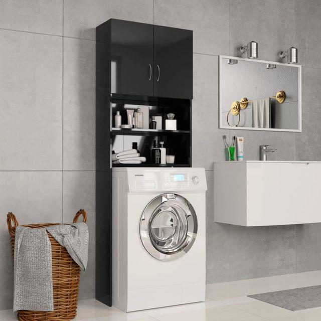 Vidaxl Meuble pour machine à laver Noir brillant 64 x 25,5 x 190 cm