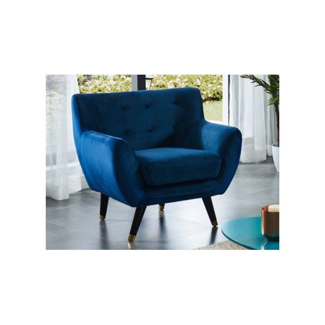 marque generique fauteuil en velours serti bleu nuit et bord bleu roi achat vente canap s. Black Bedroom Furniture Sets. Home Design Ideas