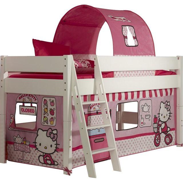 Comforium Lit Mi Hauteur Pour Enfant 90x200 Design Hello Kitty