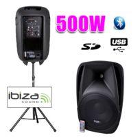 "Ibiza - Enceinte Dj active 15""/38CM 500W Usb/SD/BT + pied"