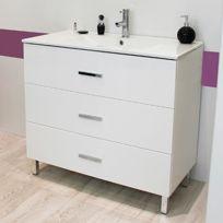 Evidence - Meuble sur pieds 90 Cartanne, blanc + vasque, miroir, spot