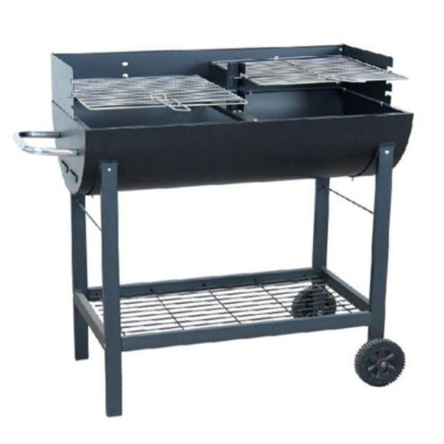 Pegane Barbecue charbon 2 foyers en acier coloris noir