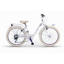 """Mbm - Vélo De Ville Fille Fleur 26"""" 6 Vit. Blanc/mauve 2016"""