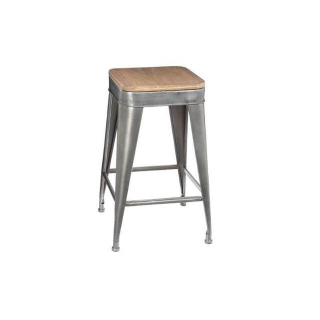 atmosphera tabouret de bar en m tal joris gris pas cher achat vente tabourets rueducommerce. Black Bedroom Furniture Sets. Home Design Ideas