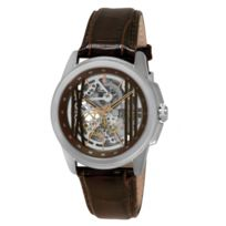 Kenneth Cole - Montre Keneth Cole Homme Automatics Automatique Squelette Cuir Marron Ikc8101